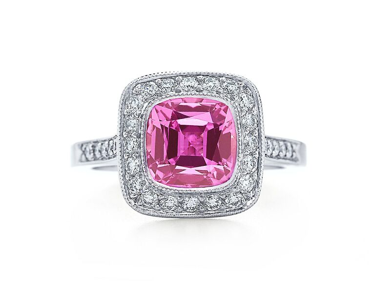 Pink sapphire engagement ring