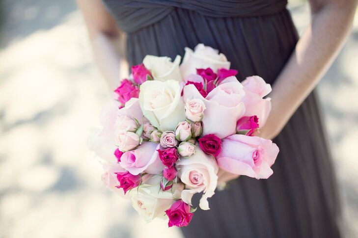 Pink and Magenta Assorted Rose Bridesmaid Bouquets