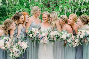 Bridesmaids in Various Cool-Toned Dresses