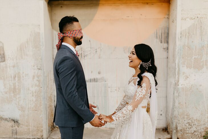 Couple Shares a First Touch Ahead of Fort Worth, Texas Wedding