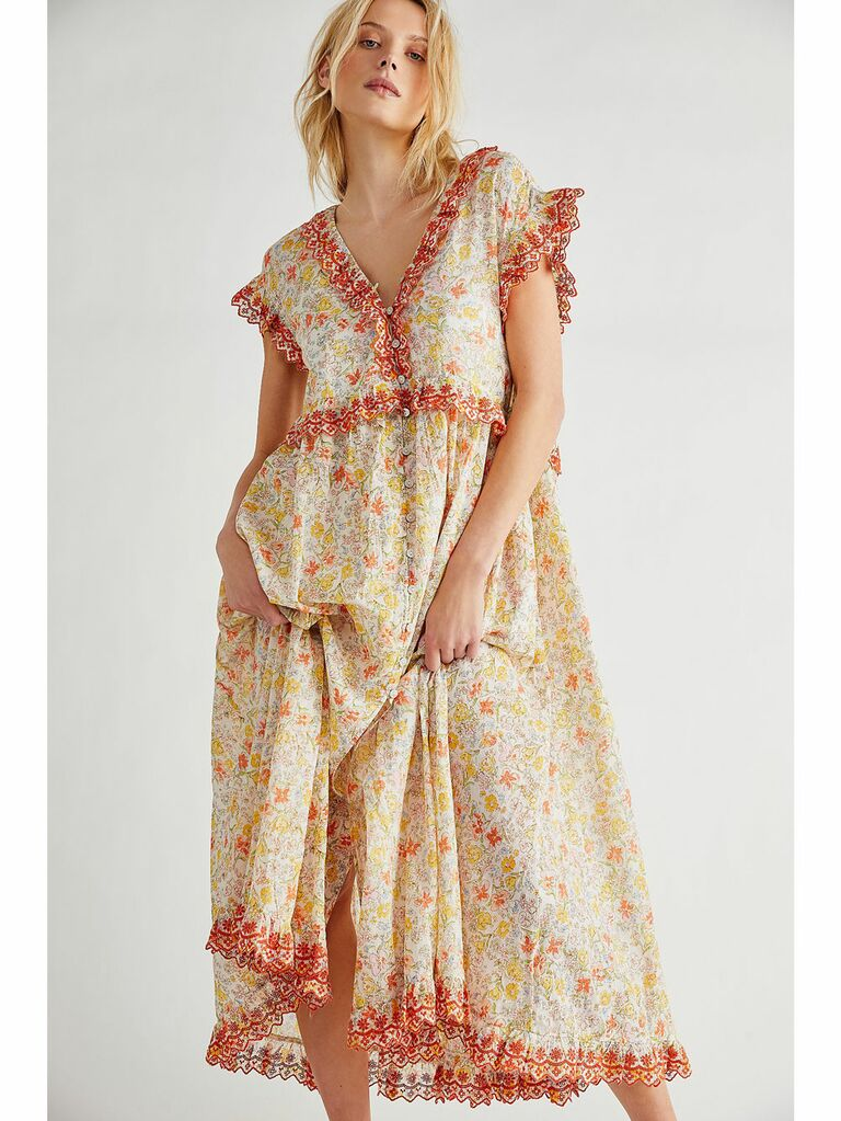 Light pastel floral print cottagecore dress with pink floral embroidery