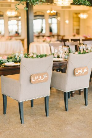 Hand-Painted Arabic Bride and Groom Signs