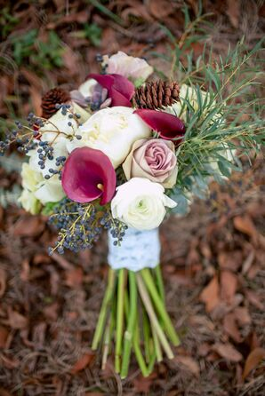 Ranunculus and Burgundy Calla Lily Wedding Bouquet