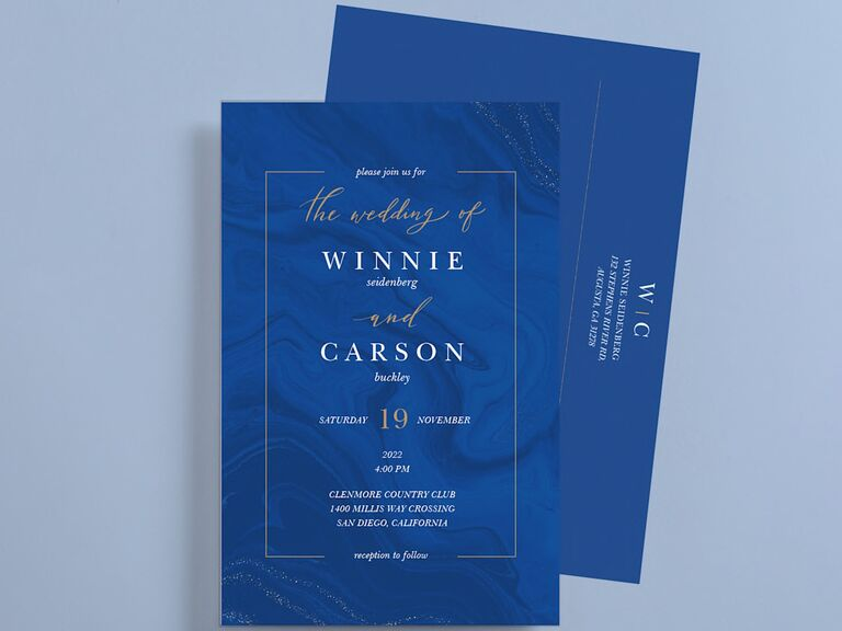 blue wedding invitation with custom envelope from vistaprint