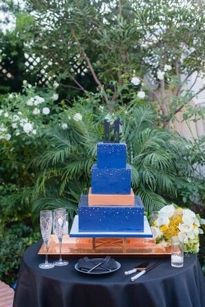 Blue Square Wedding Cake on Copper Stand
