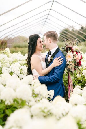 Couple in Romantic Greenhouse Garden with Hydrangeas