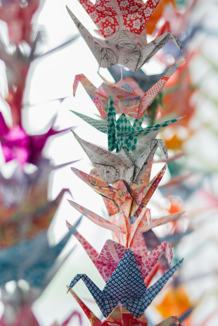 Colorful Hand-Folded Origami Cranes