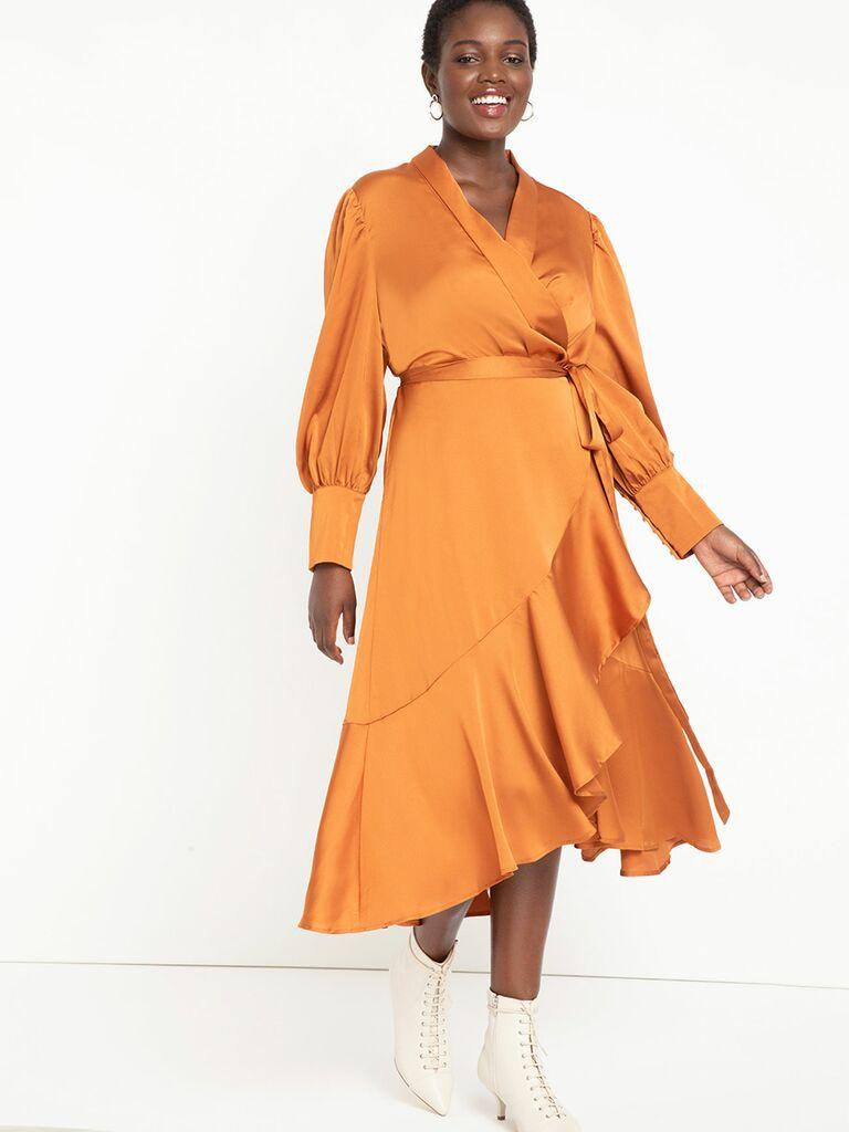 caramel colored satin wrap dress with ruffle hem
