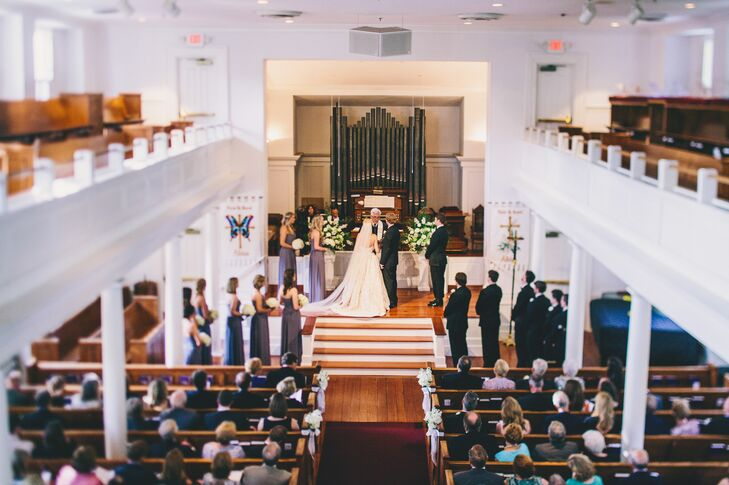 Kinsey and Collins exchanged vows at Mount Pleasant Presbyterian Church in Mount Pleasant, South Carolina, because it was the church Kinsey grew up in. As an added bonus, the officiant was the same minister who baptized Kinsey as a baby.