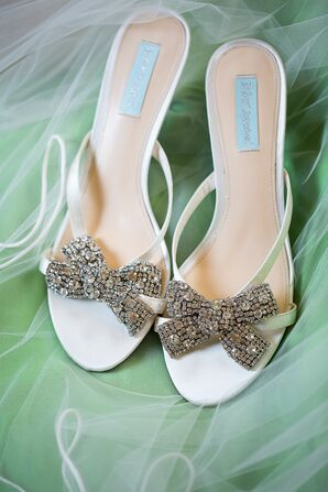 Betsy Johnson Sandal Heels with Rhinestone Embellished Bows