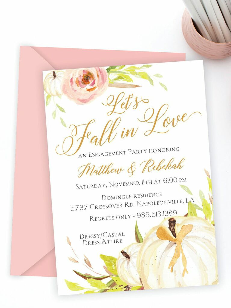 Pink fall engagement party invitation