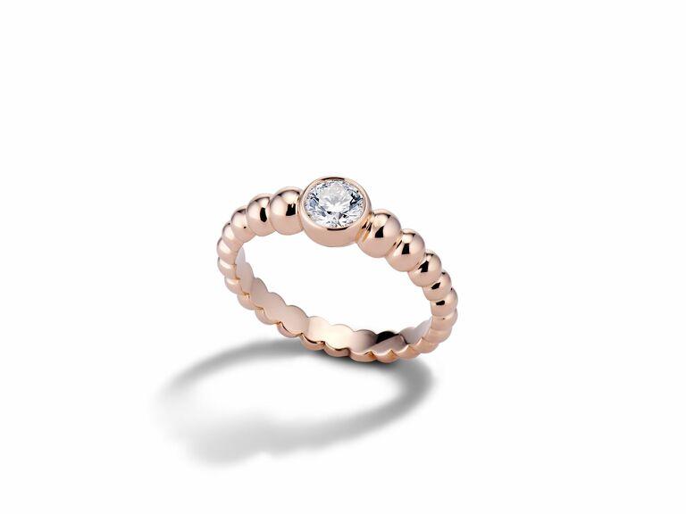 Bezel-Set Diamond Engagement Ring in rose gold
