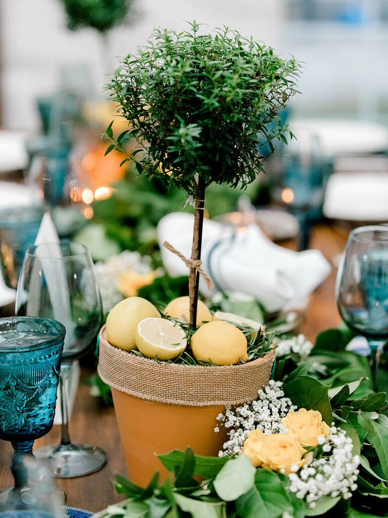 spring wedding centerpieces tree with lemons