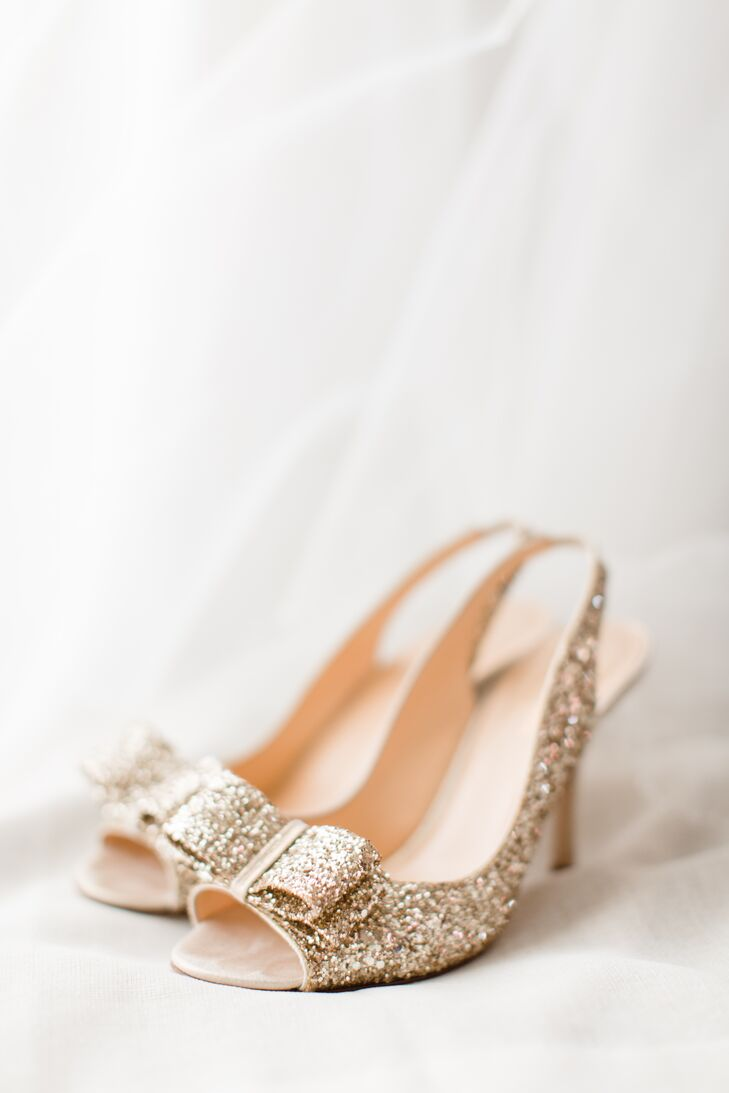 Kelsey's sparkly Kate Spade heels set the tone for the entire wedding day. The glittery gold heels were the perfect height for her dress too.