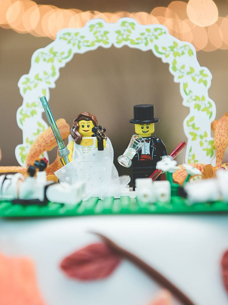 DIY Lego wedding cake topper idea