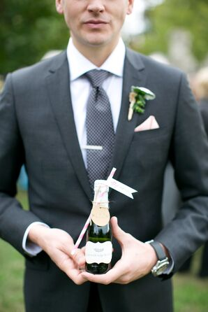Miniature Champagne Bottle, Paper Straw Escort Cards