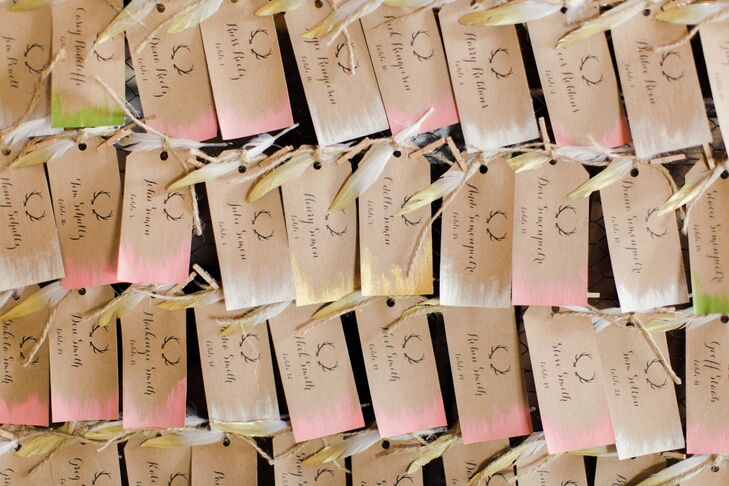 Hand-Crafted Escort Cards with Antler Motif