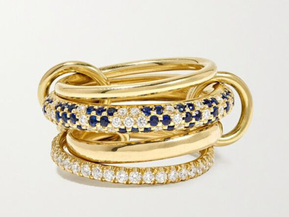 Sapphire and diamond ring stack
