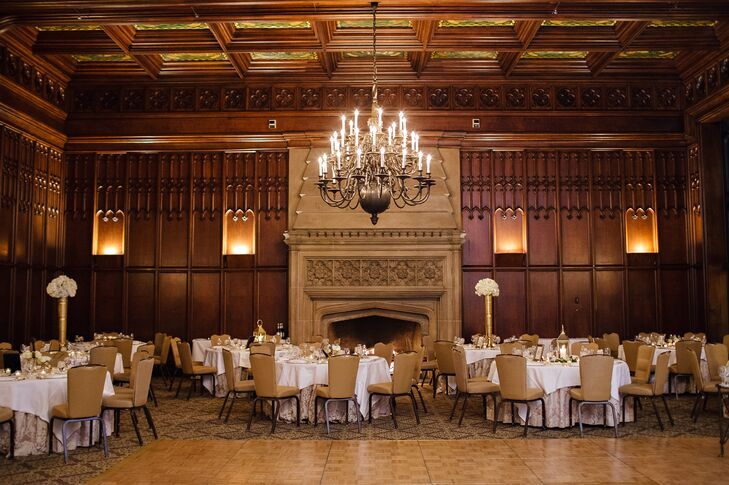 """With the fireplaces, limestone, grand staircase and wood walls, we knew [The University Club of Chicago] was the place where we wanted to celebrate the beginning of our lives together,"" says Amanda."