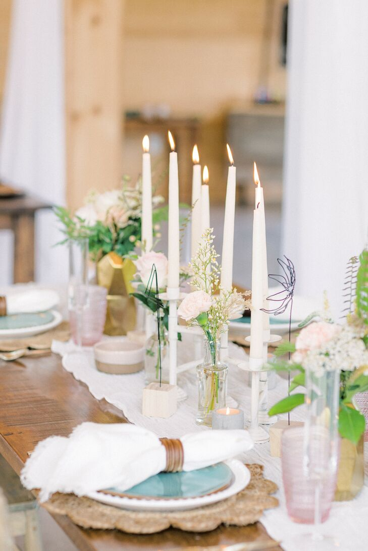 Taper Candle Tablescape for Leesburg, Virginia, Microwedding