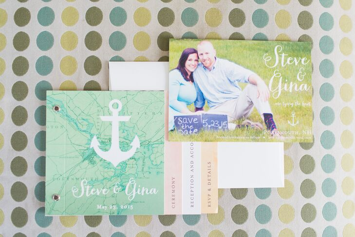 "Inspired by a verse from Hebrew that reads ""We have this hope as an anchor for the soul,"" Gina and Steven wove a nautical theme and ""love anchors the soul"" motif throughout the day. The wedding invitations introduced guests to the theme, a tabbed booklet design with a playful anchor logo and map backdrop."