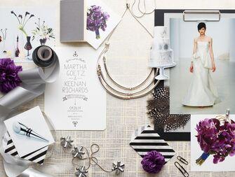 Purple and black modern wedding planning inspiration board
