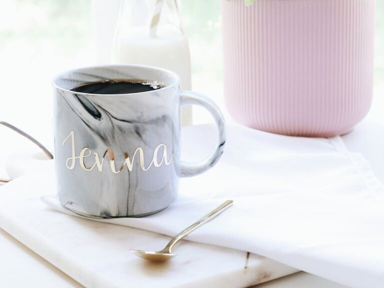 Monogram mug with marble design sister-in-law gift