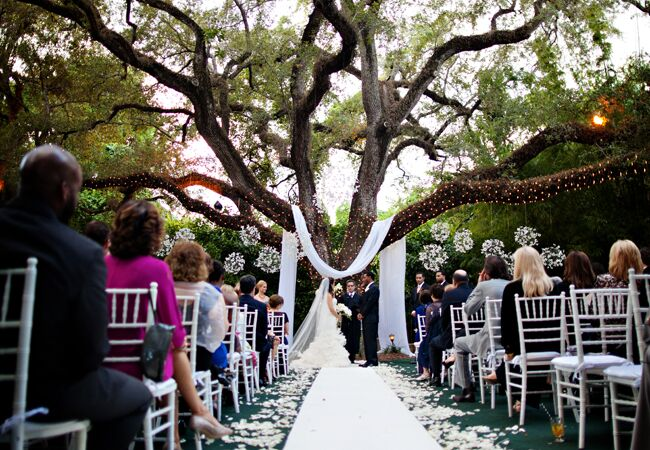 Woodland wedding ceremony backdrop: PS Photography / TheKnot.com