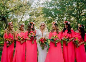 Bright Coral Bohemian Bridesmaid Dresses