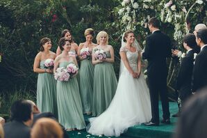 Floor-Length Sage Chiffon Bridesmaid Gowns