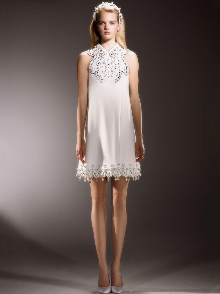Viktor & Rolf Spring 2020 Bridal Collection embellished short mini wedding dress