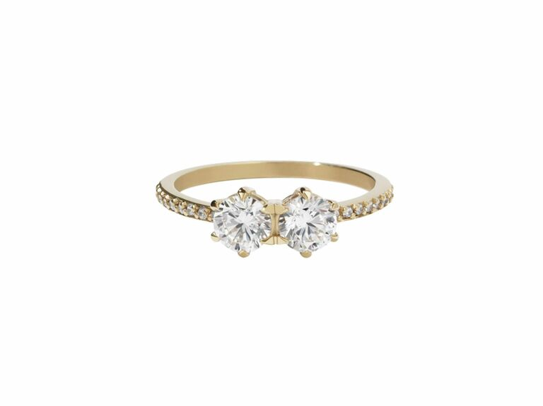two stone diamond ring with round cut diamonds and yellow gold setting