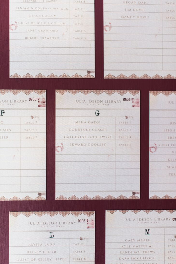 Library Card Catalog-Themed Escort Cards