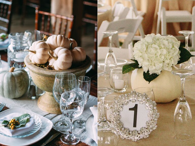 Fall themed centerpiece pumpkin wedding decor