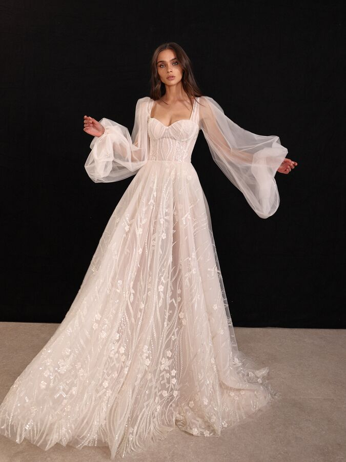 Gala by Galia Lahav ball gown with embroidered floral accents and sheer puff sleeves