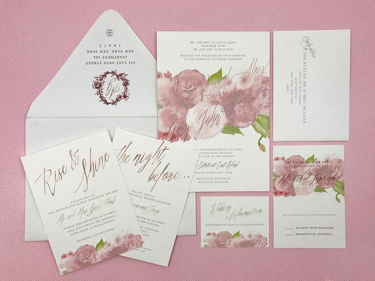 pink watercolor invitations