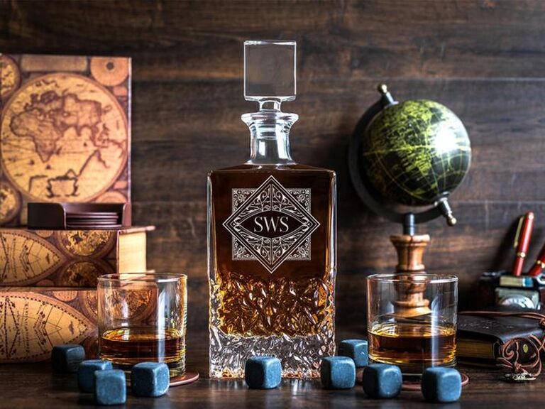 Custom whiskey decanter engagement gift for him