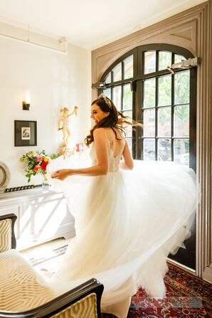 Twirling Bride in Wedding Dress and Crown