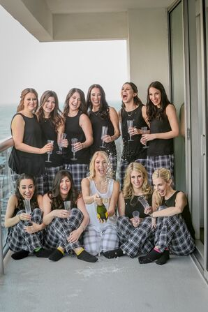 Bride Pops Champagne with Flannel-Clad Bridesmaids