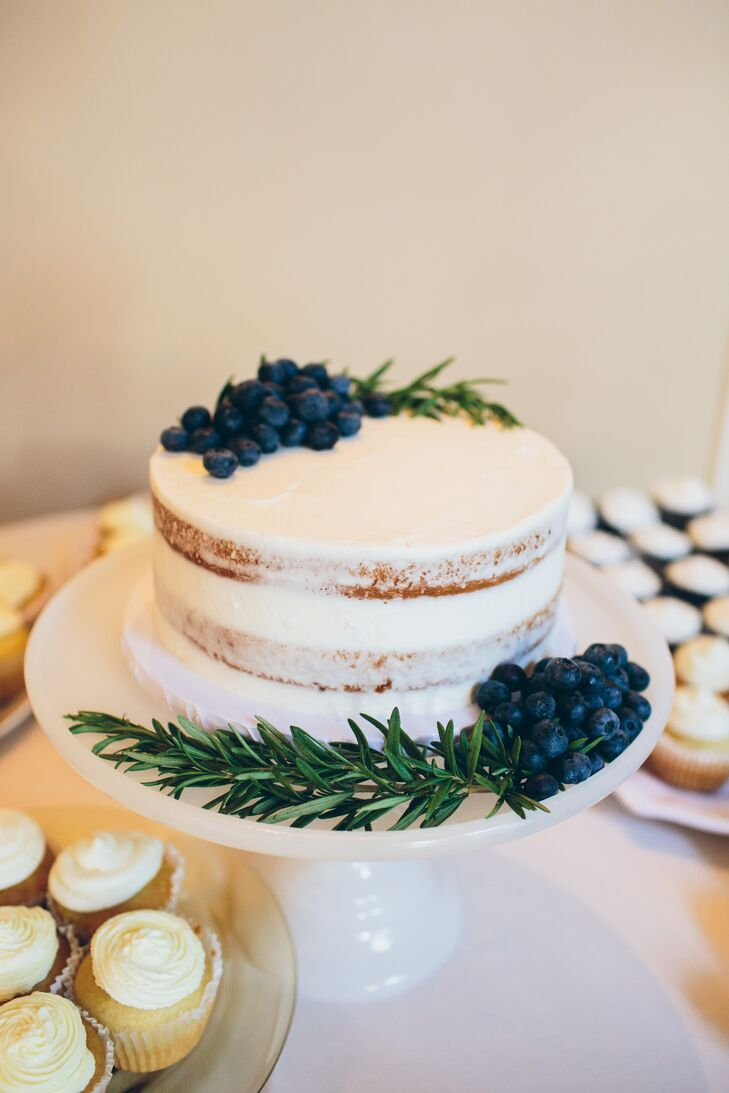 Single Tier Naked Cake with Blueberries and Rosemary