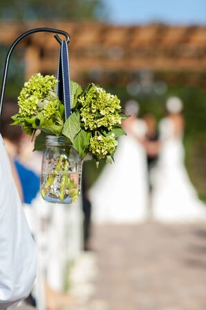 Viburnum Mason Jar Ceremony Aisle Decor