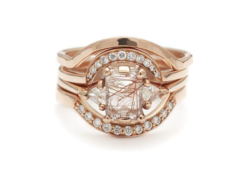 Anna Sheffield rutilated quartz and diamond engagement ring