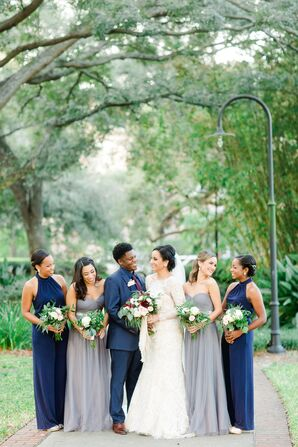 Navy and Gray Bridesmaid Dresses