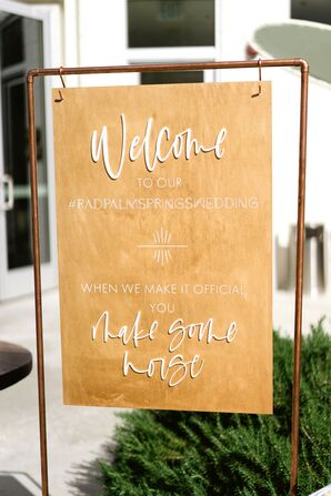 Gold Welcome Sign for Wedding at the Ace Hotel and Swim Club in Palm Springs