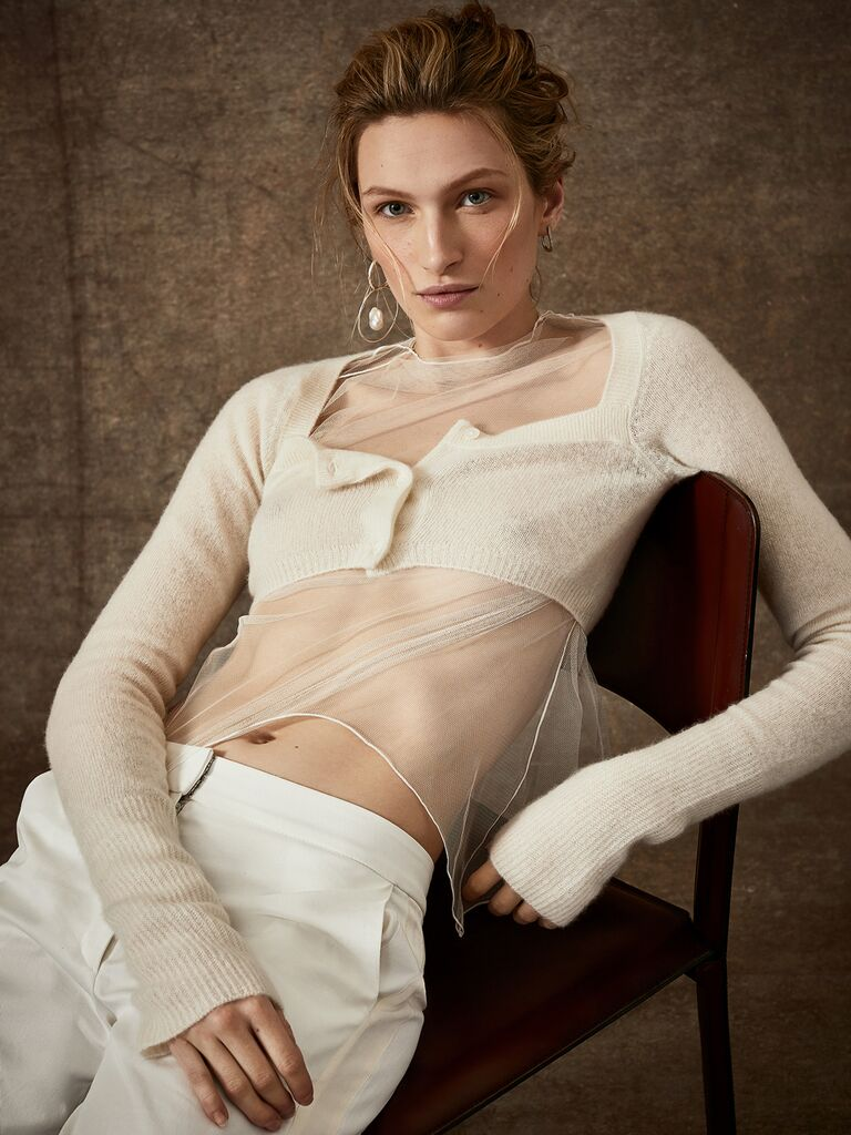 Danielle Frankel Spring 2020 Bridal Collection bridal separates white cropped sweater with sheer bodice and white pants
