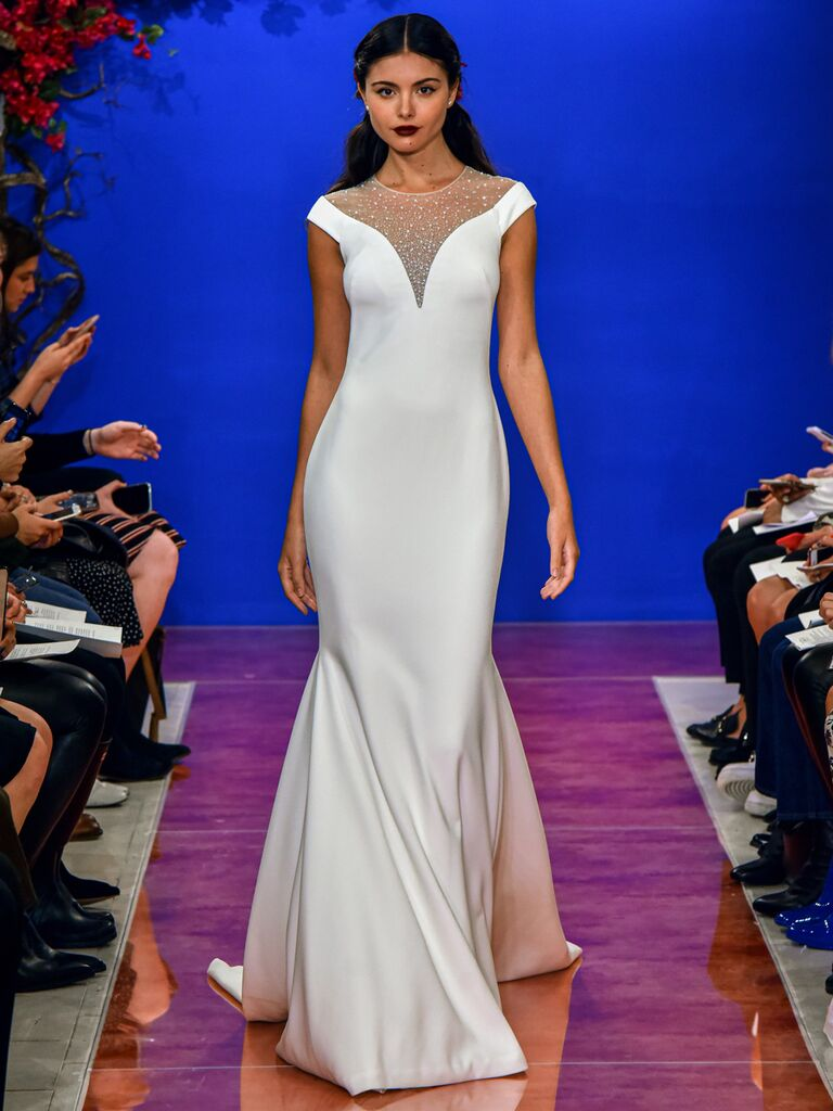 theia wedding dress illusion sheath dress