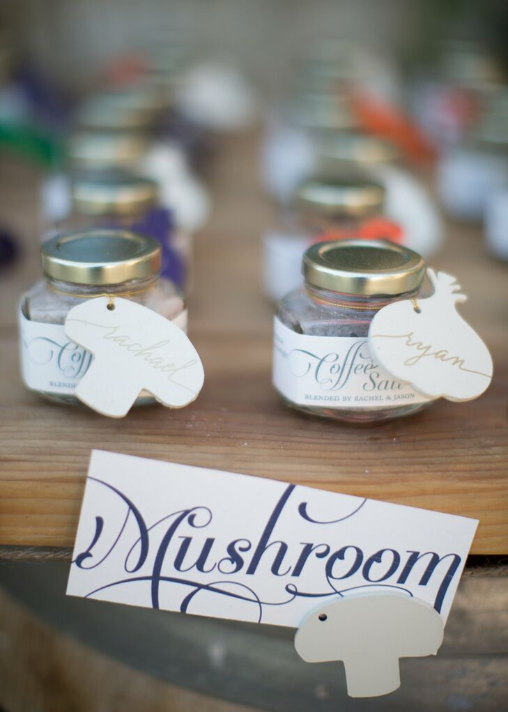 In keeping with their farmers market theme, the couple named each reception table after a different type of produce (like mushroom, asparagus and tomato) and incorporated fresh examples throughout the tablescapes.
