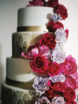 Gold Art Deco Cake with Cascading Pink Roses