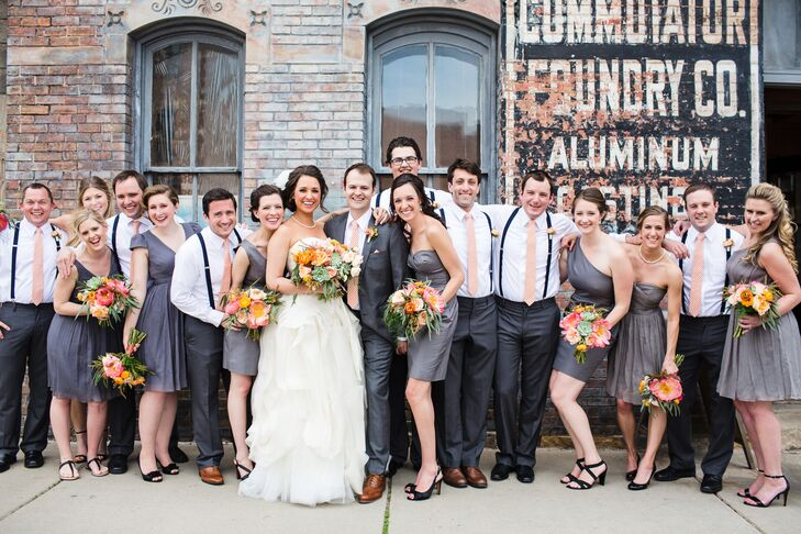 Molly's eight bridesmaids wore J.Crew dresses. Each was a slightly different shade of gray, and they all had different necklines. The groomsmen donned gray Banana Republic slacks, white Ralph Lauren  shirts and Grunion Run suspenders and ties.