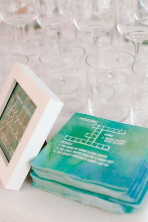 Watercolor Cocktail Napkins with Crossword Puzzles